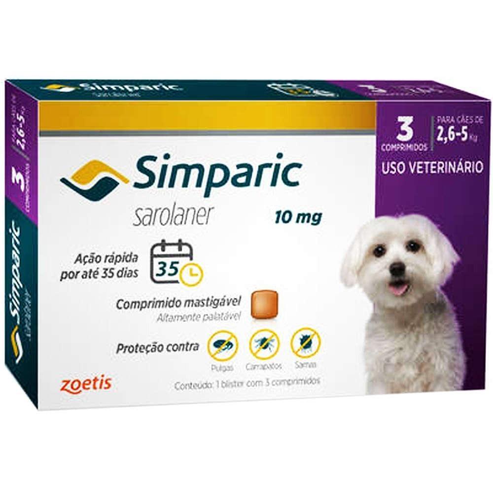 Antipulgas Simparic para cães de 2,6 a 5kg - Zoetis