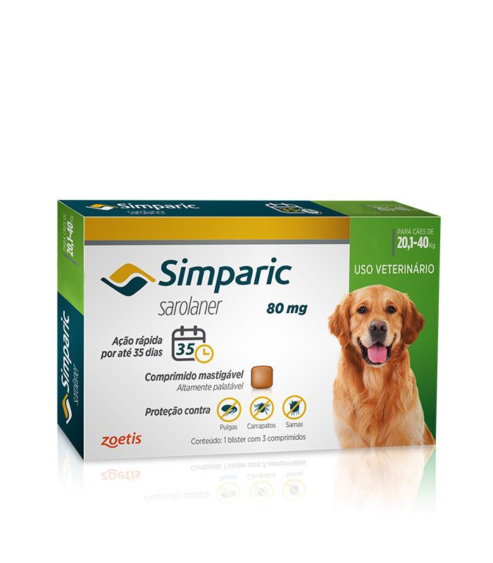 Antipulgas Simparic para cães  de 20,1 a 40kg - Zoetis